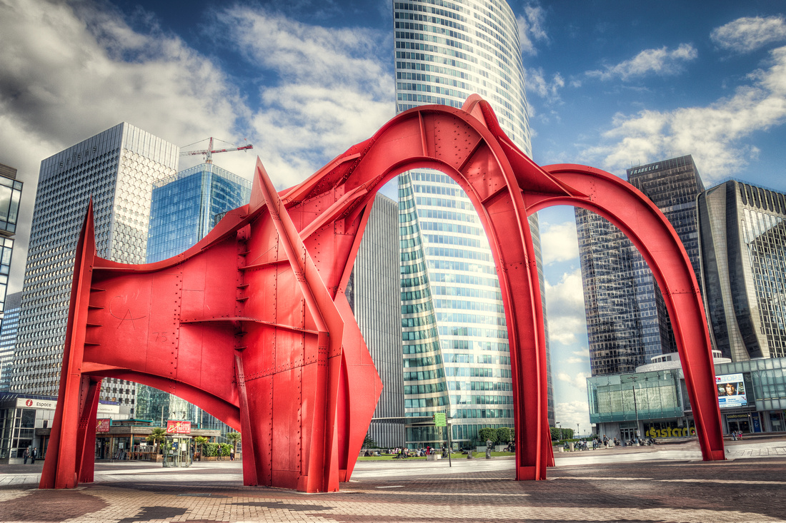 A giant piece of abstract art in La Defense, which is in Paris, France.