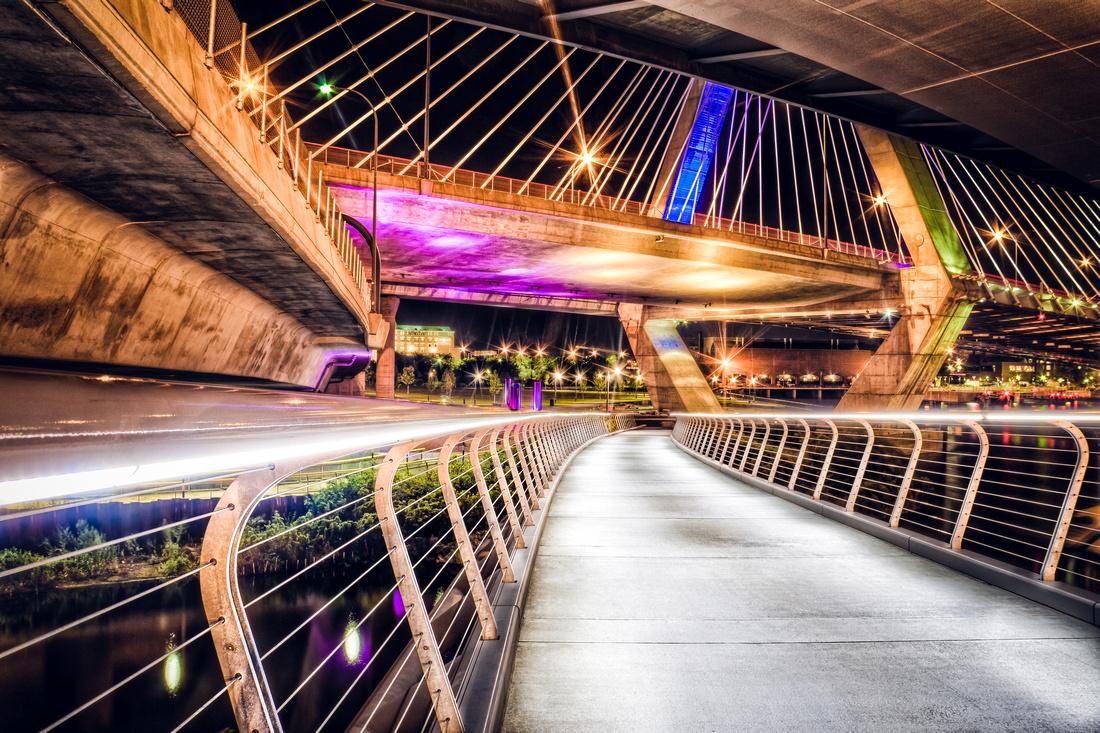 The Zakim Bridge seen from below at night.