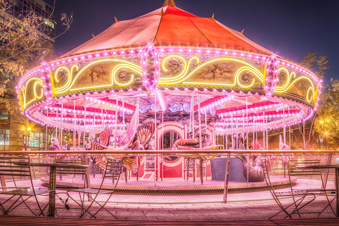 The Boston Greenway Carousel at night.